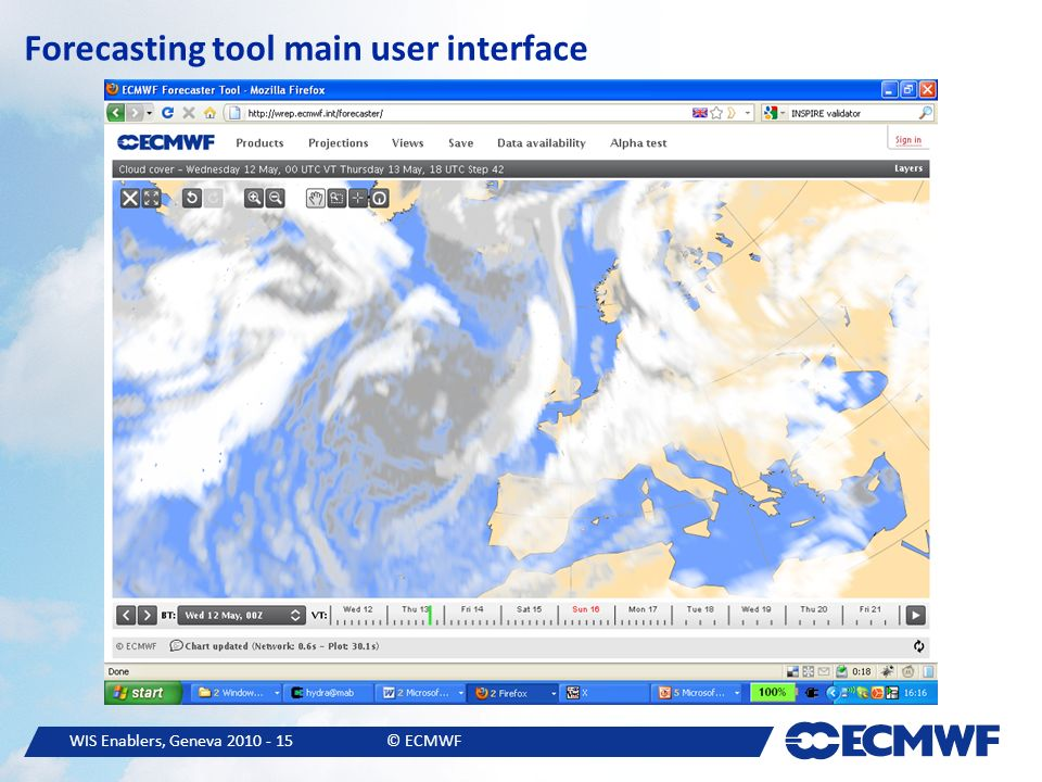 WIS Enablers, Geneva © ECMWF Forecasting tool main user interface