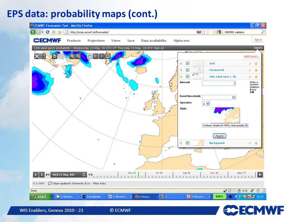 WIS Enablers, Geneva 2010 - 23© ECMWF EPS data: probability maps (cont.)