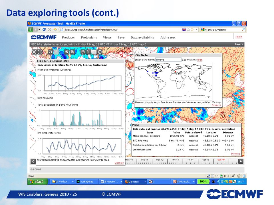 WIS Enablers, Geneva © ECMWF Data exploring tools (cont.)