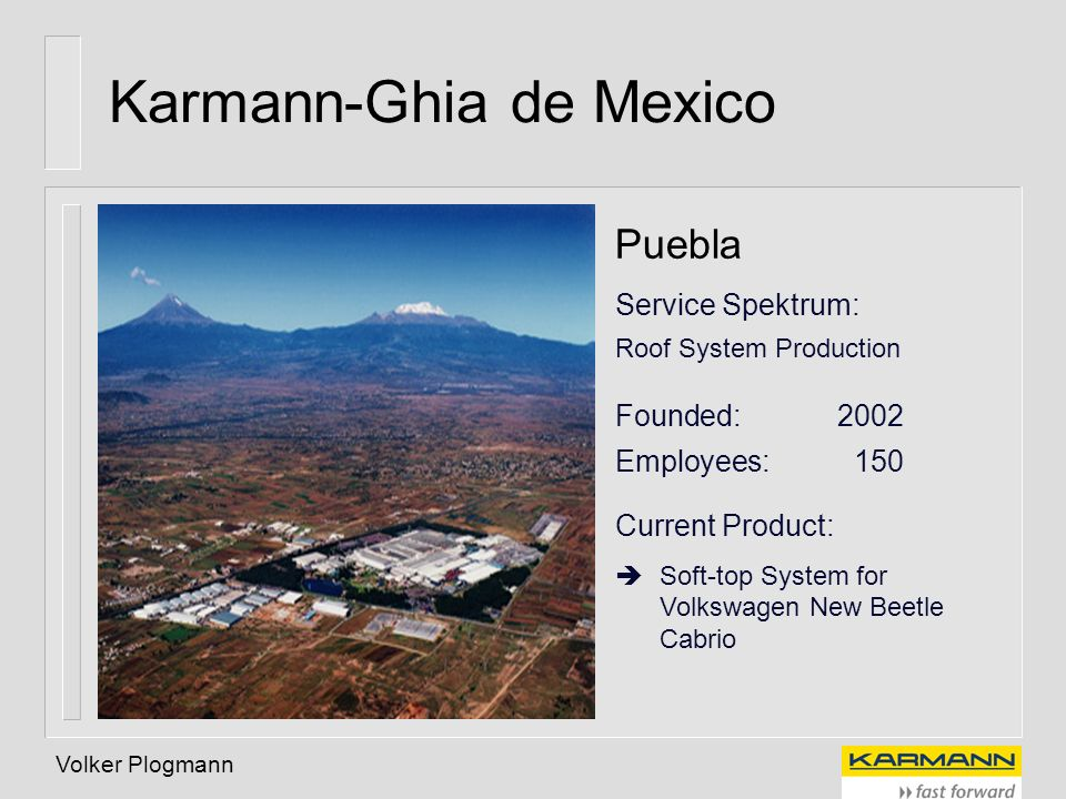 Volker Plogmann Karmann-Ghia de Mexico Puebla Service Spektrum: Roof System Production Founded: 2002 Employees: 150 Current Product: Soft-top System f