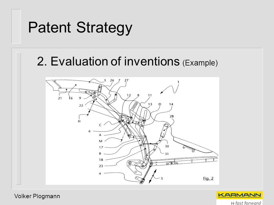 Volker Plogmann Patent Strategy 2. Evaluation of inventions (Example)