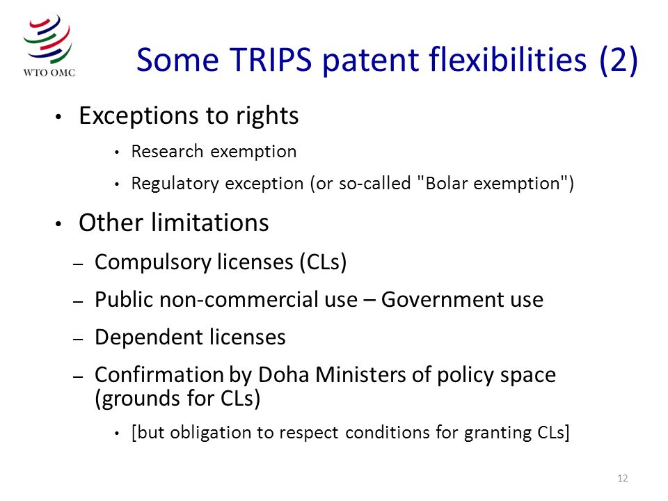 12 Exceptions to rights Research exemption Regulatory exception (or so-called