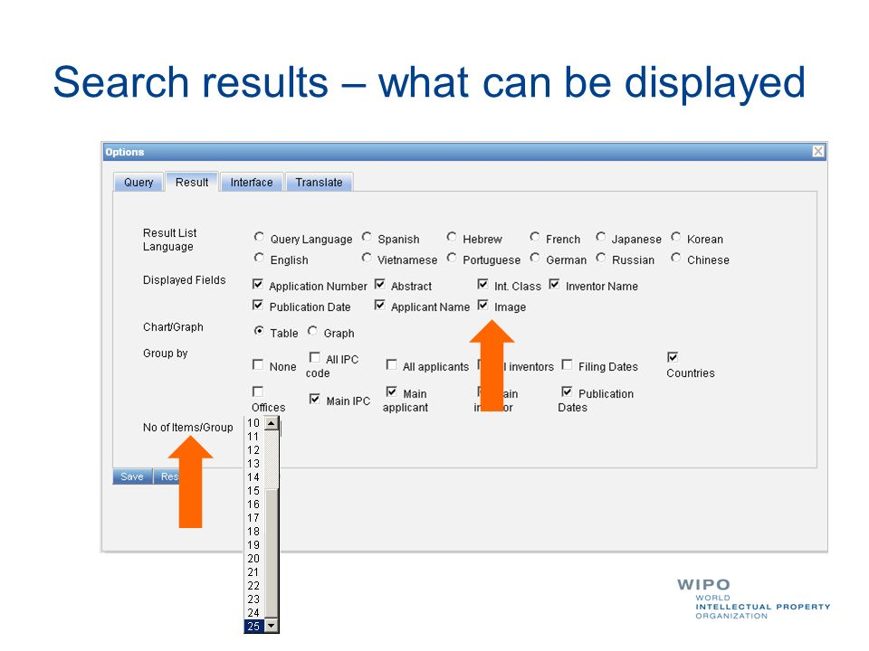 Search results – what can be displayed