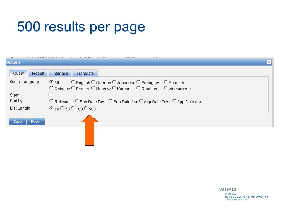 500 results per page