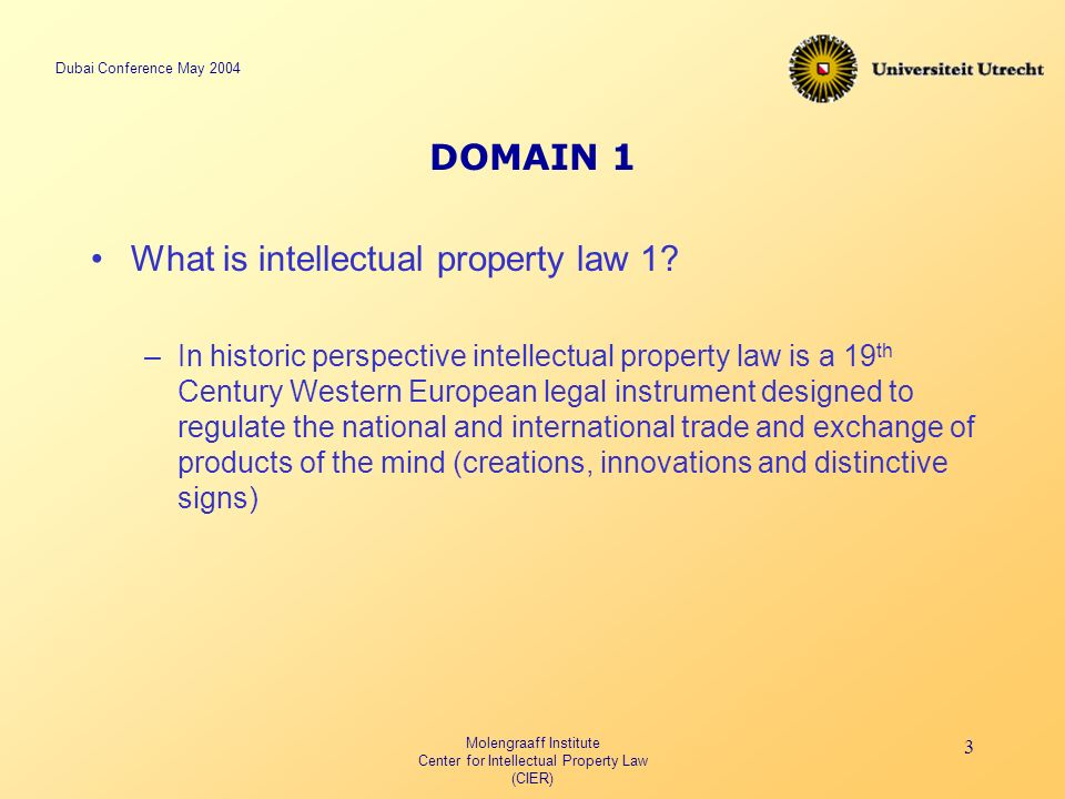 Dubai Conference May 2004 Molengraaff Institute Center for Intellectual Property Law (CIER) 3 DOMAIN 1 What is intellectual property law 1.