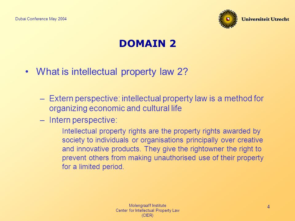 Dubai Conference May 2004 Molengraaff Institute Center for Intellectual Property Law (CIER) 4 DOMAIN 2 What is intellectual property law 2.