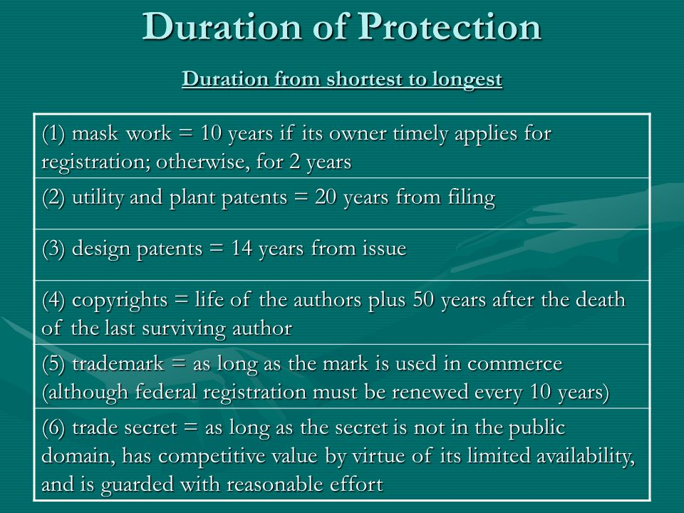 Duration of Protection Duration from shortest to longest (1) mask work = 10 years if its owner timely applies for registration; otherwise, for 2 years (2) utility and plant patents = 20 years from filing (3) design patents = 14 years from issue (4) copyrights = life of the authors plus 50 years after the death of the last surviving author (5) trademark = as long as the mark is used in commerce (although federal registration must be renewed every 10 years) (6) trade secret = as long as the secret is not in the public domain, has competitive value by virtue of its limited availability, and is guarded with reasonable effort