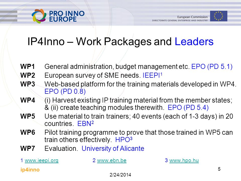 ip4inno 2/24/2014 6 WP4(i) - Harvesting During the spring 2007 harvesting of existing IP training material in four streams: (1) Some consortium partners (mostly NPOs) were asked to provide material from their own country.
