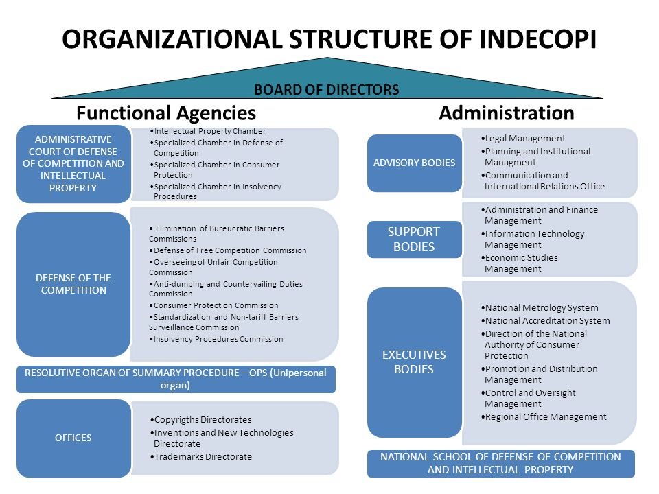 ORGANIZATIONAL STRUCTURE OF INDECOPI Functional Agencies Intellectual Property Chamber Specialized Chamber in Defense of Competition Specialized Chamb