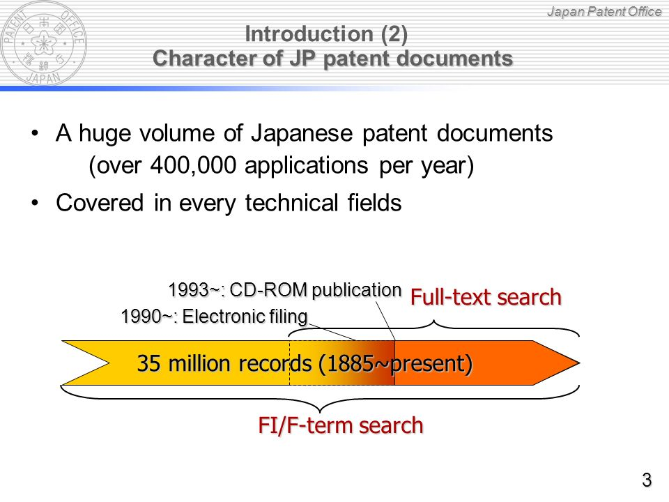 Japan Patent Office F-term search (1)-1 [Example 1] Collision Avoidance Radar [Example 1] Collision Avoidance Radar (G01S13/93) IPC: IPC: G01S 13/93 Radar or analogous systems, designed for anti-collision purposes FI: FI: G01S 13/93@Z Anti-collision systems for automobile Theme: Theme: 5J070 (Radar systems and details thereof) F-term : F-term : AD00 Antennas and polarized waves AD13.