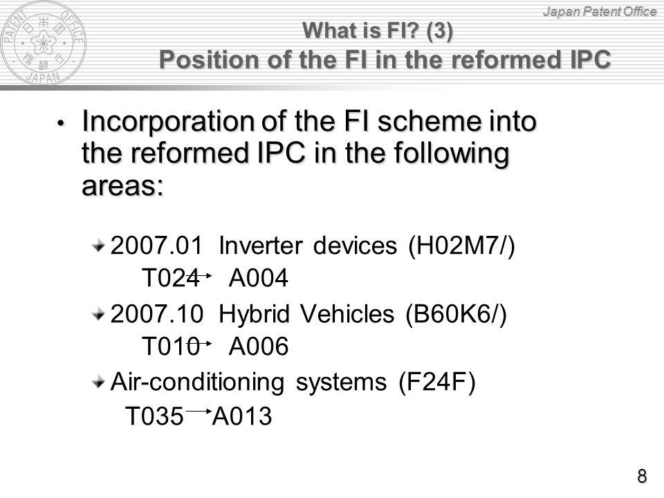 Japan Patent Office Back-log reclassification i.e.