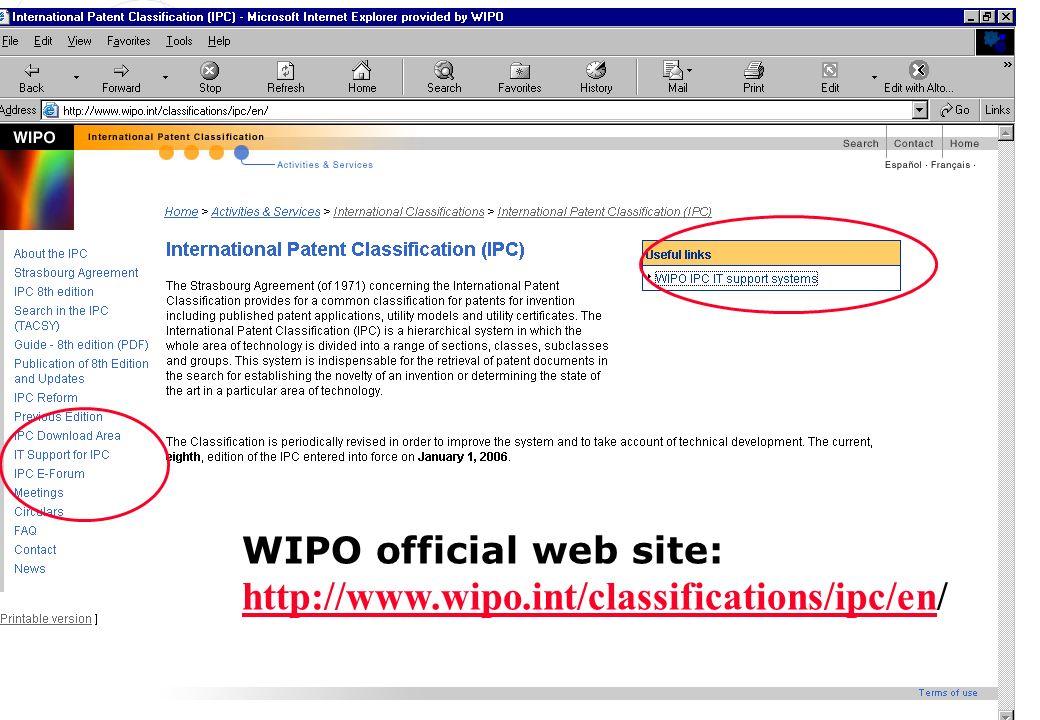 P.Fiévet July 3, 2006 WIPO official web site: http://www.wipo.int/classifications/ipc/en/ http://www.wipo.int/classifications/ipc/en