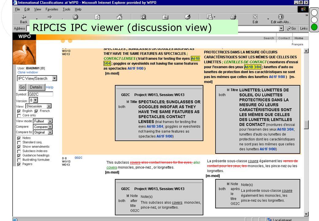 P.Fiévet July 3, 2006 RIPCIS screen shot RIPCIS IPC viewer (discussion view)