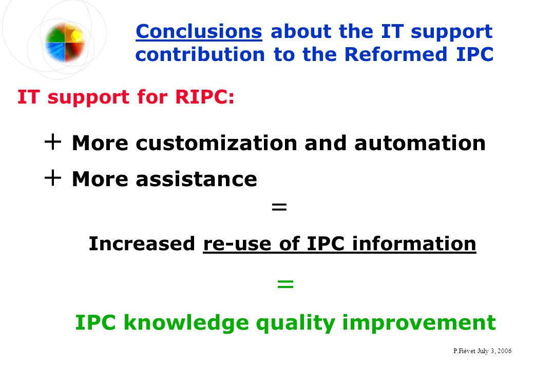 P.Fiévet July 3, 2006 Conclusions about the IT support contribution to the Reformed IPC + More customization and automation = IPC knowledge quality improvement IT support for RIPC: + More assistance = Increased re-use of IPC information