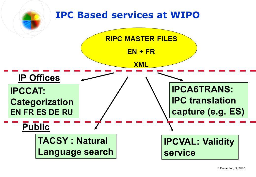 P.Fiévet July 3, 2006 IPC Based services at WIPO TACSY : Natural Language search IPCCAT: Categorization EN FR ES DE RU IPCVAL: Validity service IPCA6T