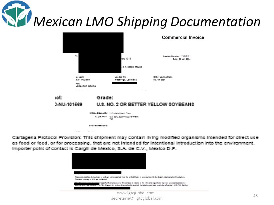48 Mexican LMO Shipping Documentation www.igtcglobal.com - secretariat@igtcglobal.com