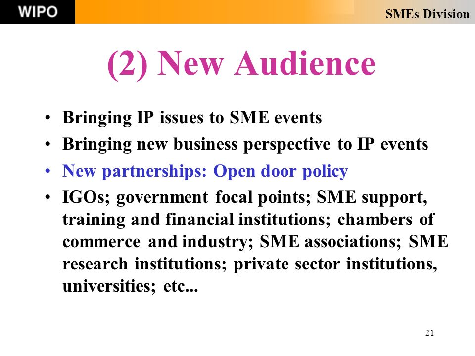 SMEs Division 21 (2) New Audience Bringing IP issues to SME events Bringing new business perspective to IP events New partnerships: Open door policy IGOs; government focal points; SME support, training and financial institutions; chambers of commerce and industry; SME associations; SME research institutions; private sector institutions, universities; etc...