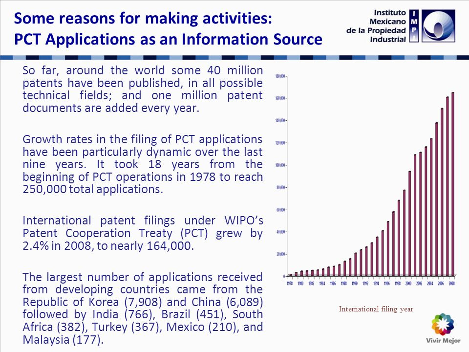 Some reasons for making activities: PCT Applications as an Information Source So far, around the world some 40 million patents have been published, in all possible technical fields; and one million patent documents are added every year.