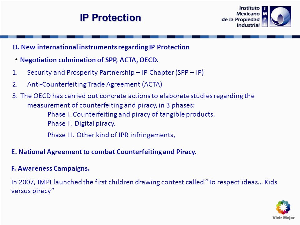 D. New international instruments regarding IP Protection Negotiation culmination of SPP, ACTA, OECD. 1.Security and Prosperity Partnership – IP Chapte