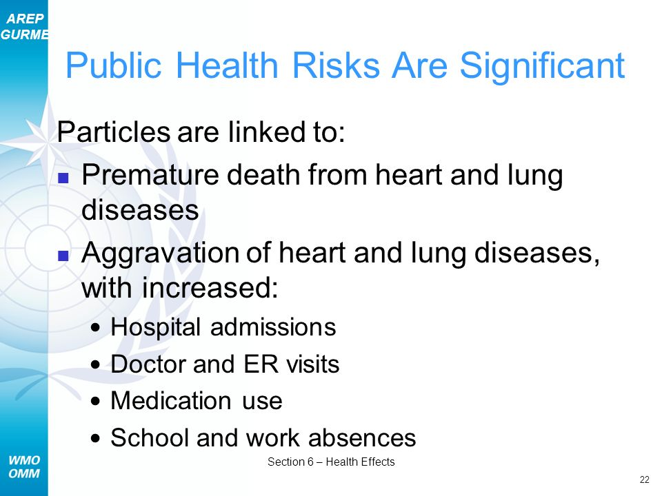 AREP GURME 22 Section 6 – Health Effects Public Health Risks Are Significant Particles are linked to: Premature death from heart and lung diseases Agg