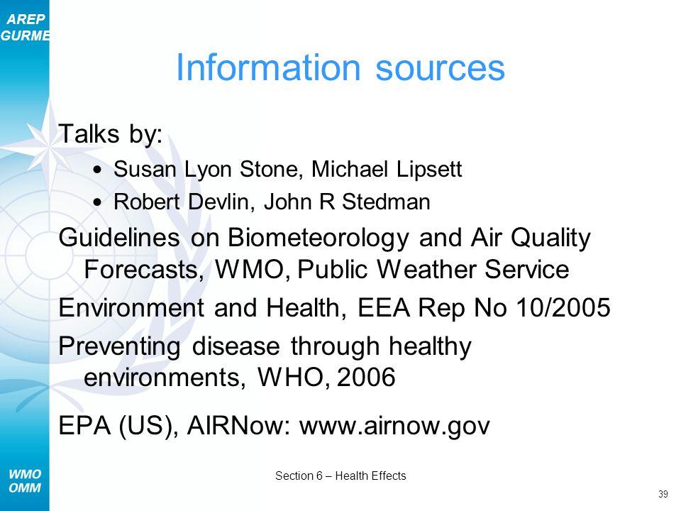 AREP GURME 39 Section 6 – Health Effects Information sources Talks by: Susan Lyon Stone, Michael Lipsett Robert Devlin, John R Stedman Guidelines on B