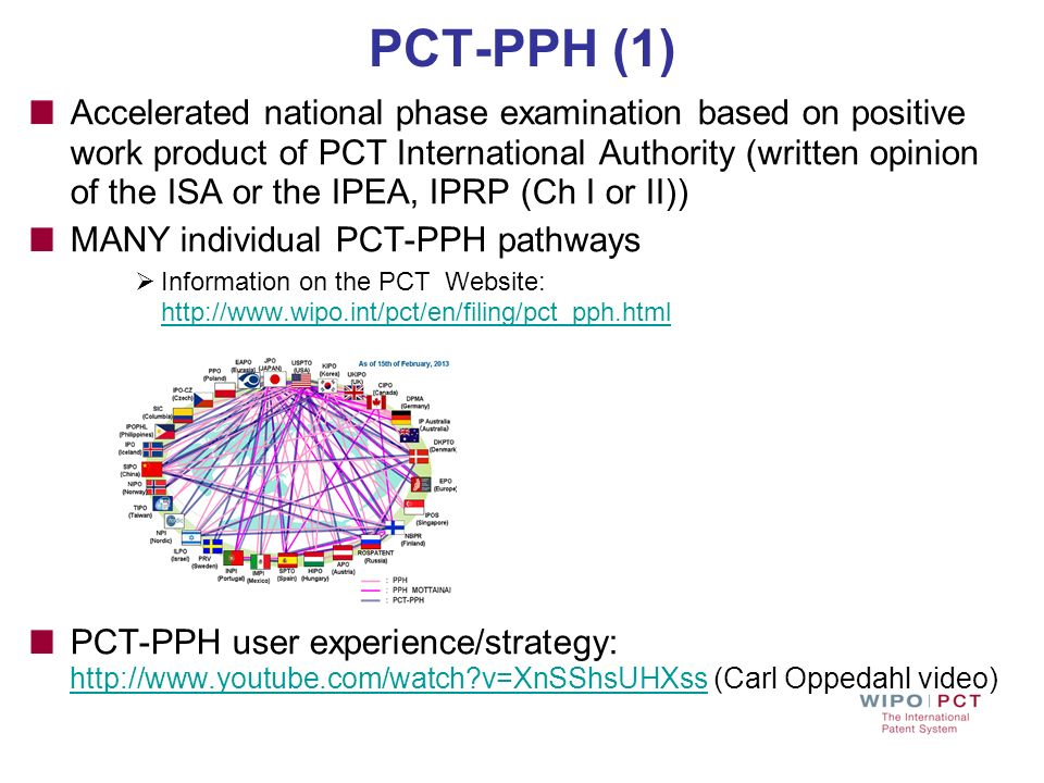 PCT-PPH (1) Accelerated national phase examination based on positive work product of PCT International Authority (written opinion of the ISA or the IP