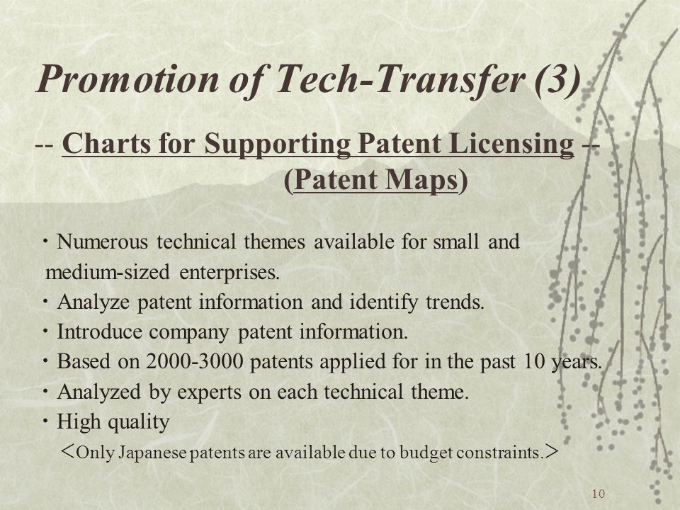 10 Promotion of Tech-Transfer (3) -- Charts for Supporting Patent Licensing -- (Patent Maps) Numerous technical themes available for small and medium-sized enterprises.