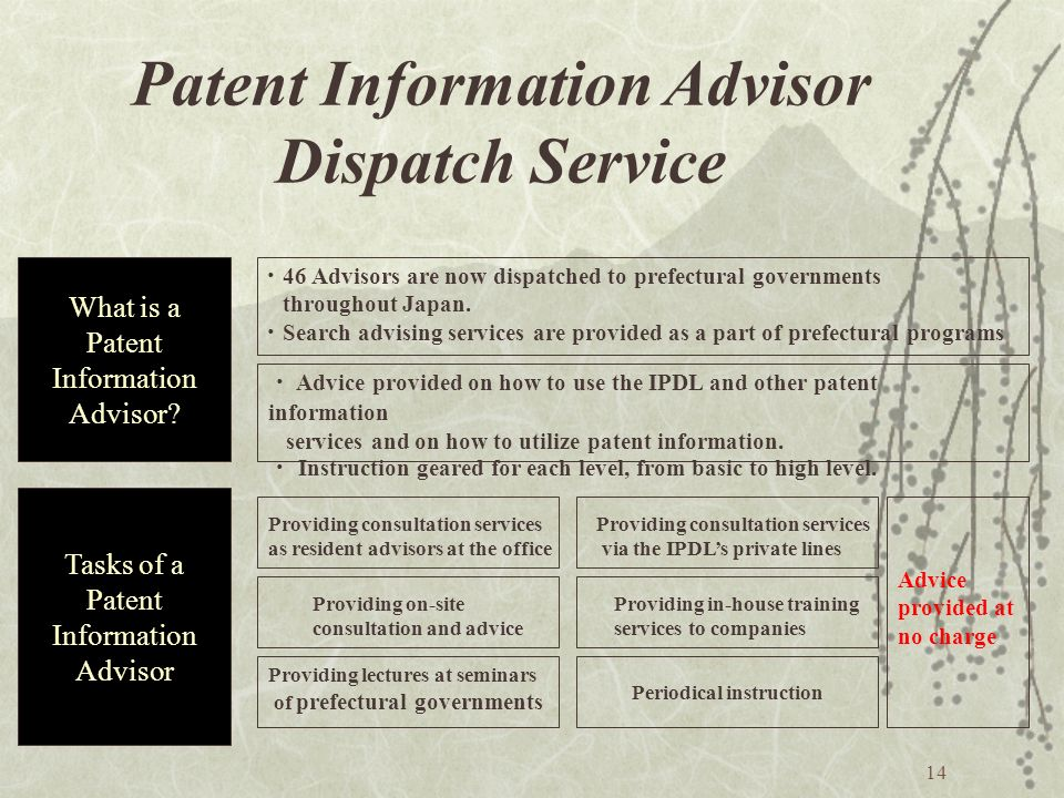 14 Patent Information Advisor Dispatch Service What is a Patent Information Advisor.