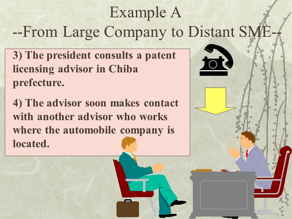 21 3) The president consults a patent licensing advisor in Chiba prefecture.