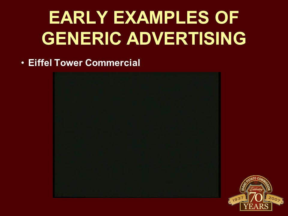 EARLY EXAMPLES OF GENERIC ADVERTISING Eiffel Tower Commercial