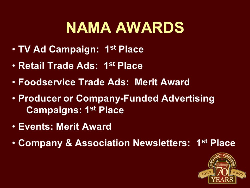 NAMA AWARDS TV Ad Campaign: 1 st Place Retail Trade Ads: 1 st Place Foodservice Trade Ads: Merit Award Producer or Company-Funded Advertising Campaigns: 1 st Place Events: Merit Award Company & Association Newsletters: 1 st Place