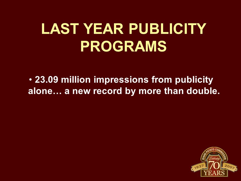 LAST YEAR PUBLICITY PROGRAMS 23.09 million impressions from publicity alone… a new record by more than double.