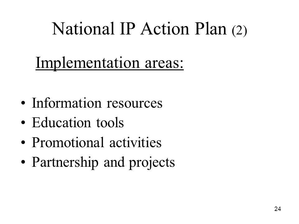 24 National IP Action Plan (2) Implementation areas: Information resources Education tools Promotional activities Partnership and projects