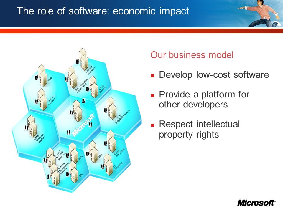 The role of software: economic impact IT Producers (Hardware & software) Local channel & service firms Local end user IT organisations 7.9 million 9.4 million IT Market size EU + 3 (2005)ICT Spend (2005 - 2010) ICT-related employment (2005 - 2010)ICT-related tax revenues (2005 - 2010)
