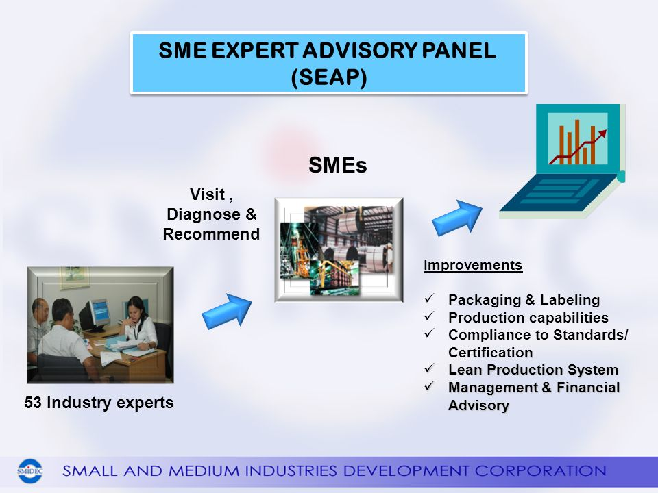 SMEs 53 industry experts Visit, Diagnose & Recommend SME EXPERT ADVISORY PANEL (SEAP) SME EXPERT ADVISORY PANEL (SEAP) Improvements Packaging & Labeling Production capabilities n Compliance to Standards/ Certification Lean Production System Lean Production System Management & Financial Advisory Management & Financial Advisory