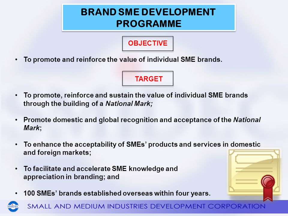 OBJECTIVE To promote and reinforce the value of individual SME brands.