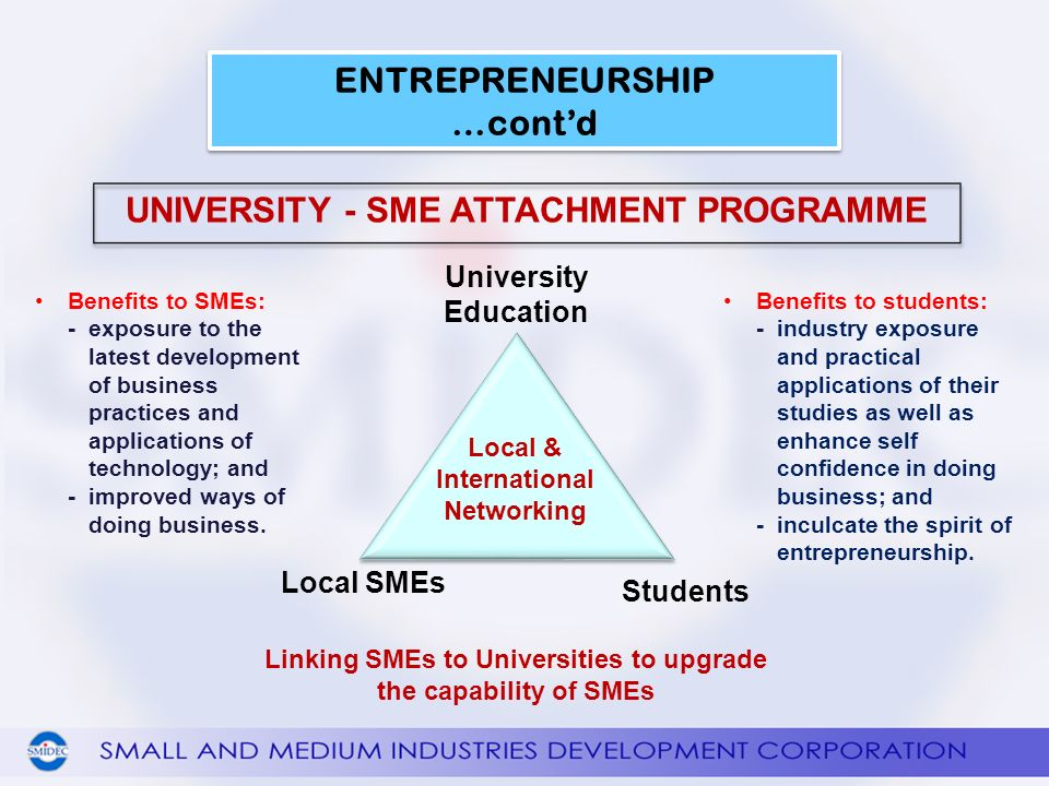 Benefits to SMEs: -exposure to the latest development of business practices and applications of technology; and -improved ways of doing business.