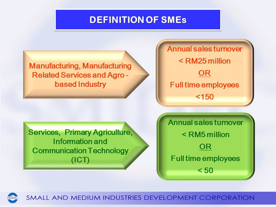 DEFINITION OF SMEs Services, Primary Agriculture, Information and Communication Technology (ICT) Annual sales turnover < RM5 million OR Full time employees < 50 Manufacturing, Manufacturing Related Services and Agro - based Industry Annual sales turnover < RM25 million OR Full time employees <150