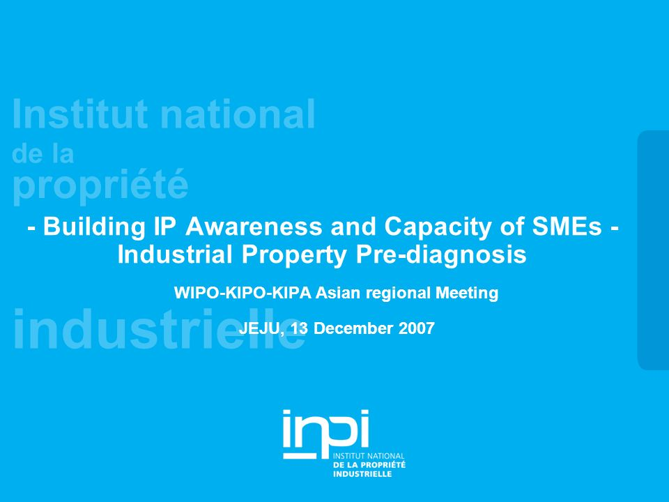 industrielle Institut national de la propriété - Building IP Awareness and Capacity of SMEs - Industrial Property Pre-diagnosis WIPO-KIPO-KIPA Asian regional Meeting JEJU, 13 December 2007