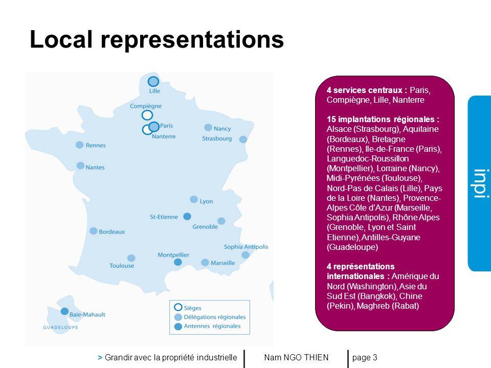 inpi Nam NGO THIEN > Grandir avec la propriété industrielle page 3 Local representations 4 services centraux : Paris, Compiègne, Lille, Nanterre 15 im