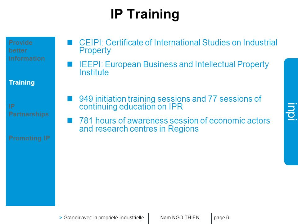inpi Nam NGO THIEN > Grandir avec la propriété industrielle page 6 IP Training CEIPI: Certificate of International Studies on Industrial Property IEEPI: European Business and Intellectual Property Institute 949 initiation training sessions and 77 sessions of continuing education on IPR 781 hours of awareness session of economic actors and research centres in Regions Provide better information Training IP Partnerships Promoting IP