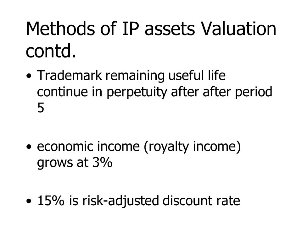 Methods of IP assets Valuation contd. Trademark remaining useful life continue in perpetuity after after period 5 economic income (royalty income) gro