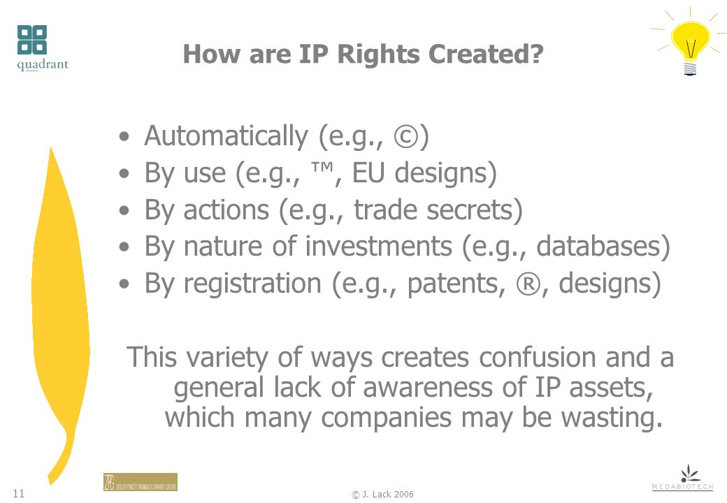 11 © J.Lack 2006 How are IP Rights Created.