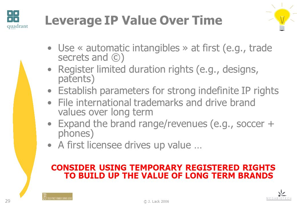 29 © J. Lack 2006 Leverage IP Value Over Time Use « automatic intangibles » at first (e.g., trade secrets and ©) Register limited duration rights (e.g