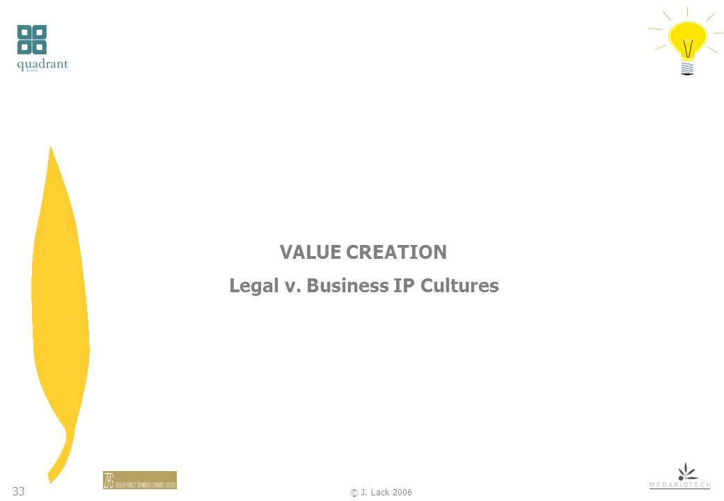 33 © J. Lack 2006 VALUE CREATION Legal v. Business IP Cultures