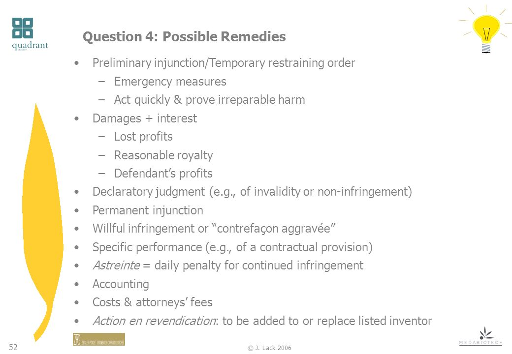 52 © J. Lack 2006 Question 4: Possible Remedies Preliminary injunction/Temporary restraining order –Emergency measures –Act quickly & prove irreparabl