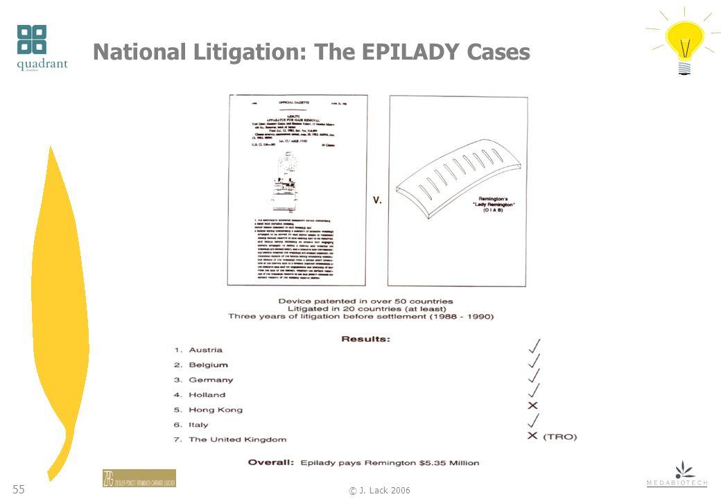 55 © J. Lack 2006 National Litigation: The EPILADY Cases