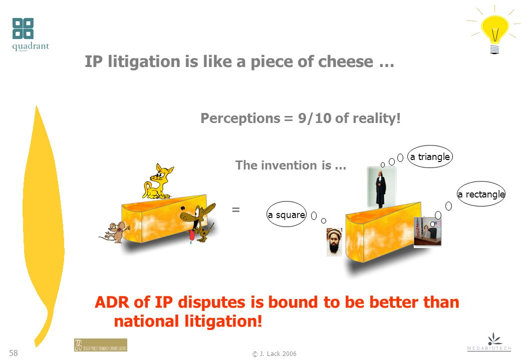 58 © J.Lack 2006 IP litigation is like a piece of cheese … Perceptions = 9/10 of reality.