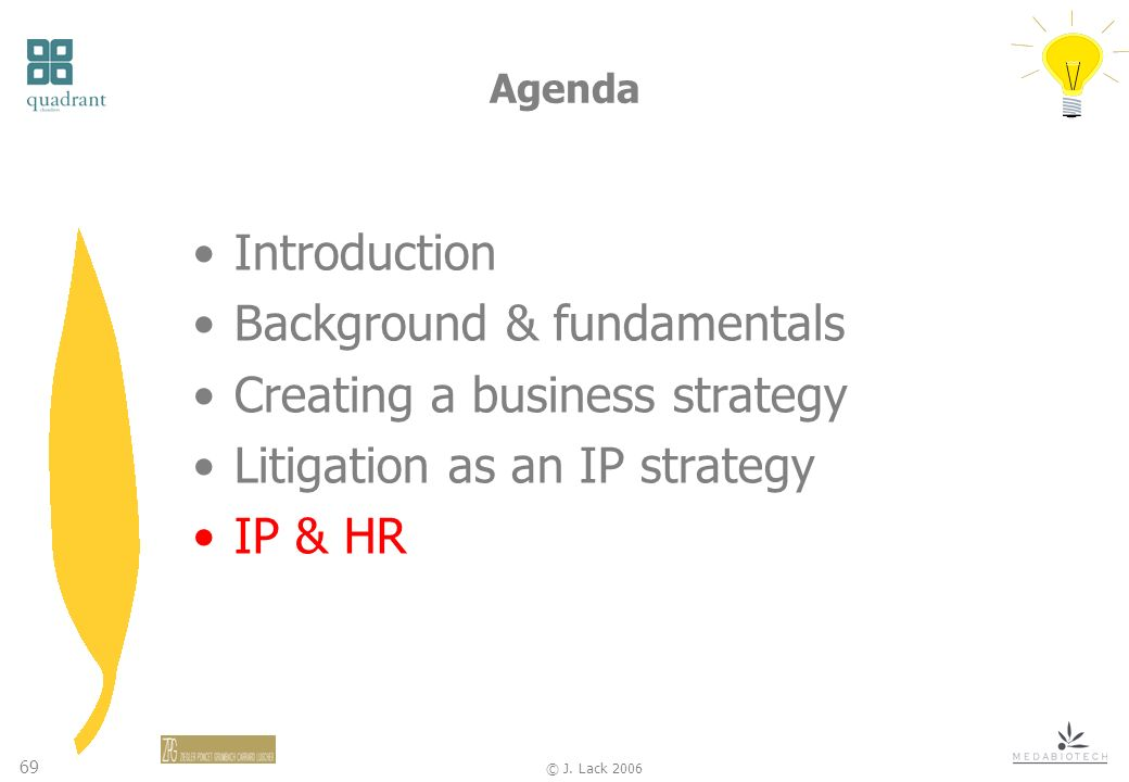 69 © J. Lack 2006 Agenda Introduction Background & fundamentals Creating a business strategy Litigation as an IP strategy IP & HR