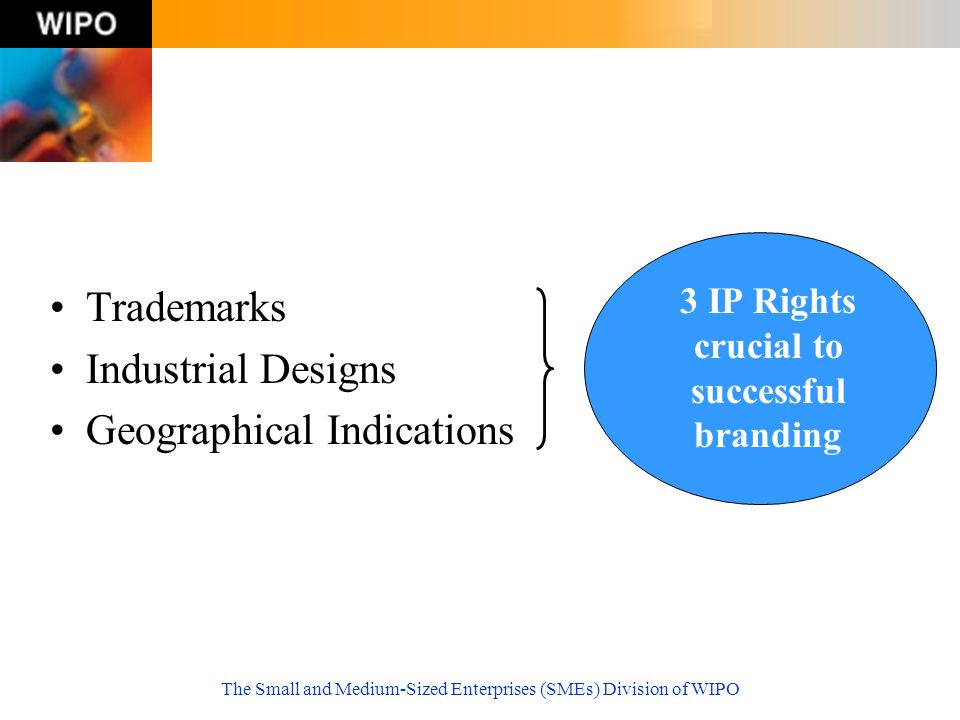 The Small and Medium-Sized Enterprises (SMEs) Division of WIPO Trademarks Industrial Designs Geographical Indications 3 IP Rights crucial to successful branding